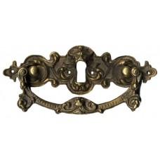 Kulcslyuk címer fogantyúval, vízszintes, sárgarézből, 123X40 mm - 1 db