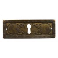 """Kulcslyuk címer, vízszintes, sárgarézből, """"Liberty"""" patinásított, 96X35 mm - 1 db"""