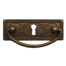 """Kulcslyuk címer fogantyúval, vízszintes, sárgarézből """"Liberty"""", patinásított, 96X35 mm - 1 db"""