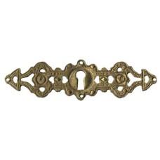 """Kulcslyuk címer, vízszintes, sárgarézből, """"Gründerzeit"""", 114X30 mm - 1 db"""