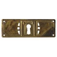 """Kulcslyuk címer, vízszintes, sárgarézből, """"Jugendstil-Art Deco"""", 97X33 mm - 1 db"""