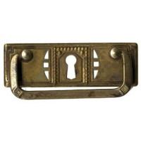 """Kulcslyuk címer fogantyúval, vízszintes, sárgarézből """"Jugendstil-Art Deco"""", 97X33 mm - 1 db"""