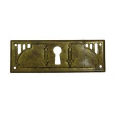 """Kulcslyuk címer, vízszintes, sárgarézből, """"Jugendstil"""" patinásított, 96X33 mm - 1 db"""
