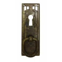 """Kulcslyuk címer, függőleges sárgarézből  """"Jugendstil"""" patinásított, 33X96 mm - 1 db"""