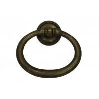 Gyűrű rozettával sárgarézből, patinásított, 61x53 mm - 1 db