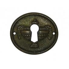 """Kulcslyuk címer, fém ötvözetből, """"Biedermeier"""" patinásított 49x43 mm"""