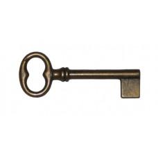 Kulcs sárgarézből, 72 mm, patinásított, üreges - 1 db