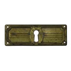 """Kulcslyuk címer, vízszintes, sárgarézből, """"Jugendstil"""" 97X33 mm - 1 db"""