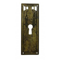 """Kulcslyuk címer, függőleges, sárgarézből, """"Jugendstil"""" patinásított, 33X96 mm - 1 db"""